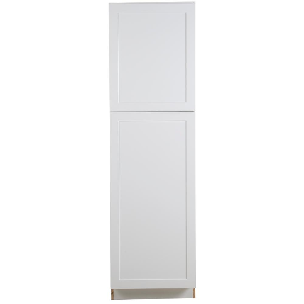 hampton bay cambridge assembled 84x24x24 5 in pantry cabinet with adjustable shelves in white. Black Bedroom Furniture Sets. Home Design Ideas