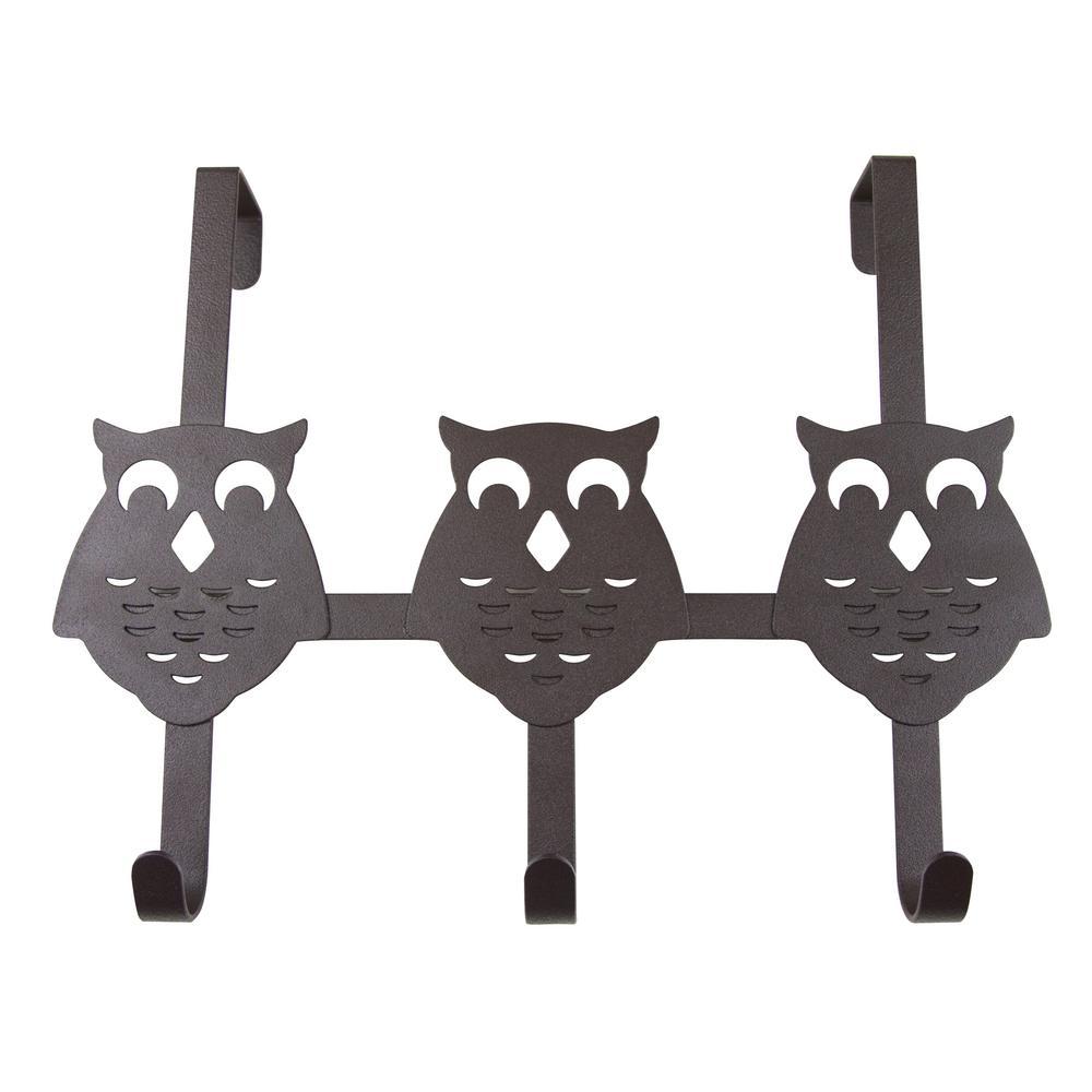 Over the Door Counter Drawer Owl Organizer Hooks - 3 Hooks Bronze