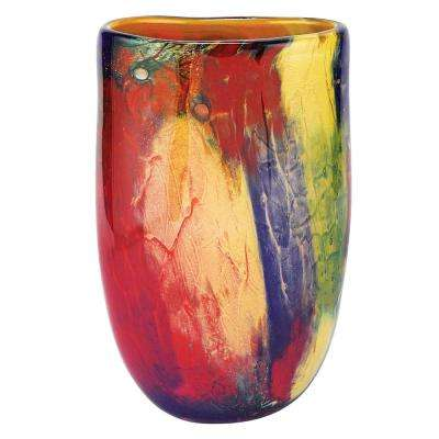 Firestorm 11 in. Mouth Blown Oval Thick Walled Decorative Vase