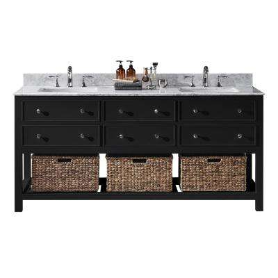 Elodie 72 in. W x 22 in. D x 34.21 in. H Bath Vanity in Espresso with Marble Vanity Top in White with White Basins