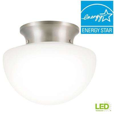 8 in. 60-Watt Equivalent Brushed Nickel Integrated LED Rain Drop Flush Mount with White Glass Shade