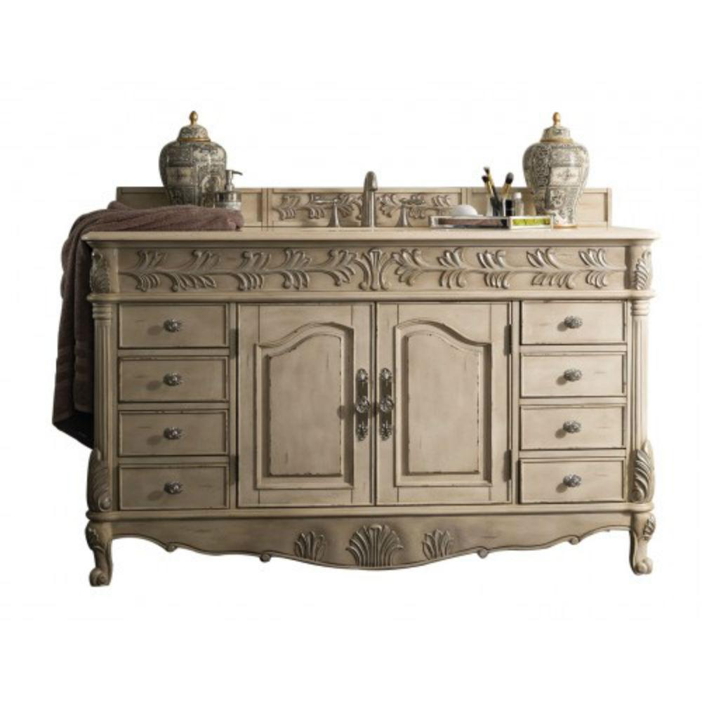 James Martin Signature Vanities St. James 60 in. W Single Vanity in Empire Linen with Marble Vanity Top in Galala Beige with White Basin
