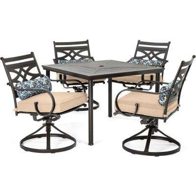 Montclair 5-Piece Metal Outdoor Dining Set with Country Cork Cushions, Swivel Rockers and Table