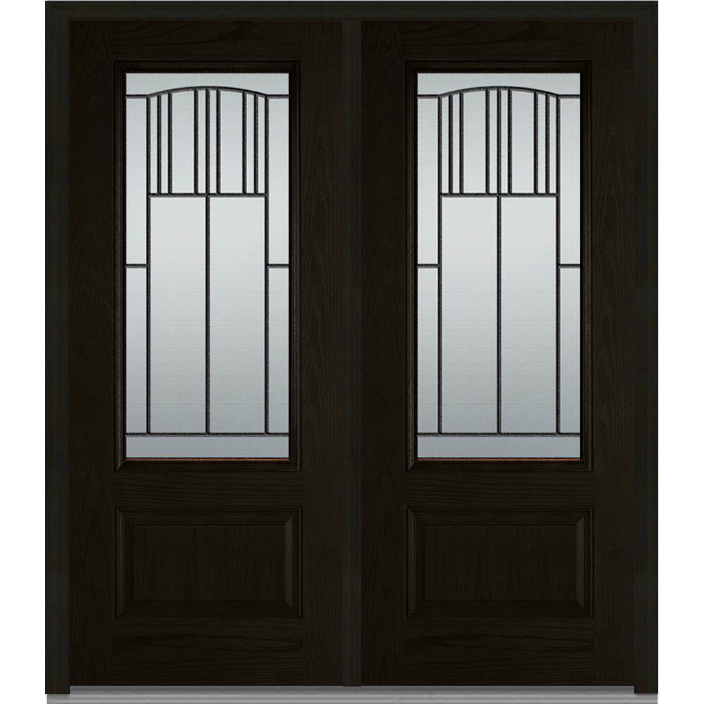 72 in. x 80 in. Madison Left-Hand Inswing 3/4-Lite Decorative 1-Panel Stained Fiberglass Oak Prehung Front Door