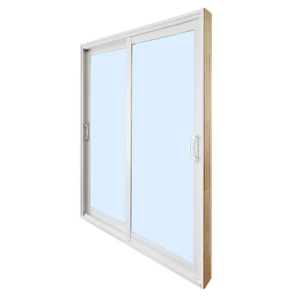 stanley doors 60 in x 80 in double sliding patio door clear low - Sliding Patio Doors