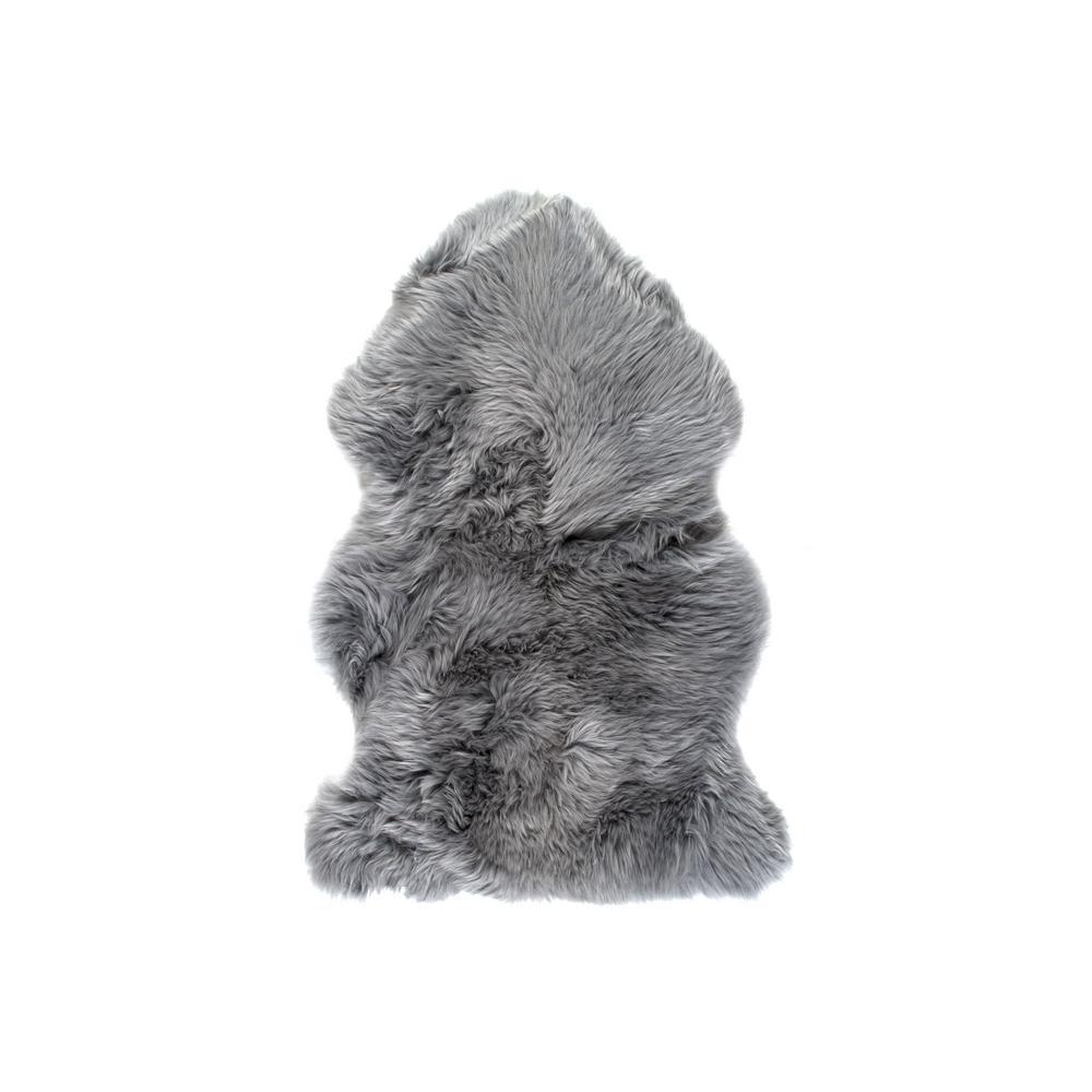 New Zealand Grey 2 ft. x 3 ft. Single Sheepskin Area Rug