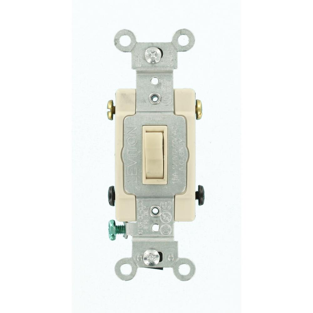 Leviton 15 Amp SinglePole Toggle Framed 4Way AC Switch Ivory - 4 Way Rocker Light Switch
