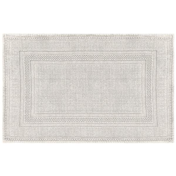 Stonewash Racetrack 21 in. x 34 in. Cotton Bath Rug in Light Gray