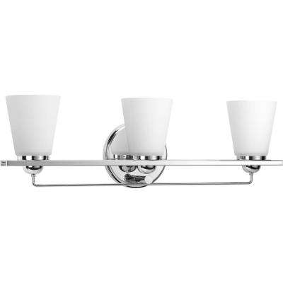 Flight Collection 3-Light Polished Chrome Vanity Light with Etched Glass Shades