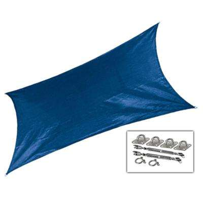 12 ft. x 10 ft. Cobalt Blue Rectangle Ultra Shade Sail with Kit