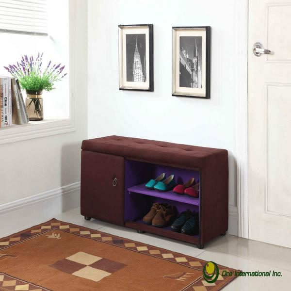 undefined Brown Shoe Compartment Ottoman