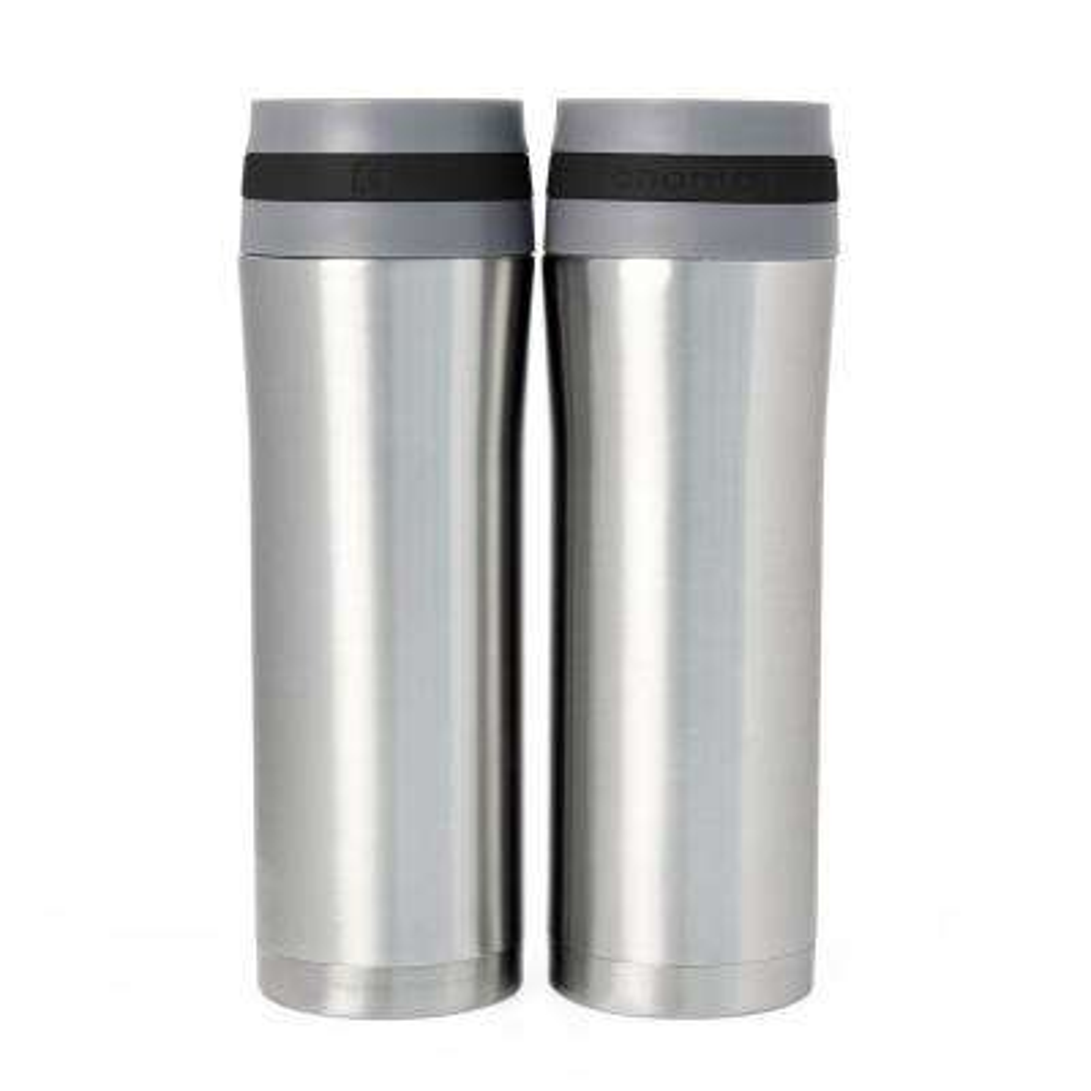 Vacuum Insulated 15 oz. Black Band Stainless Steel Travel Mug (Set of 2)