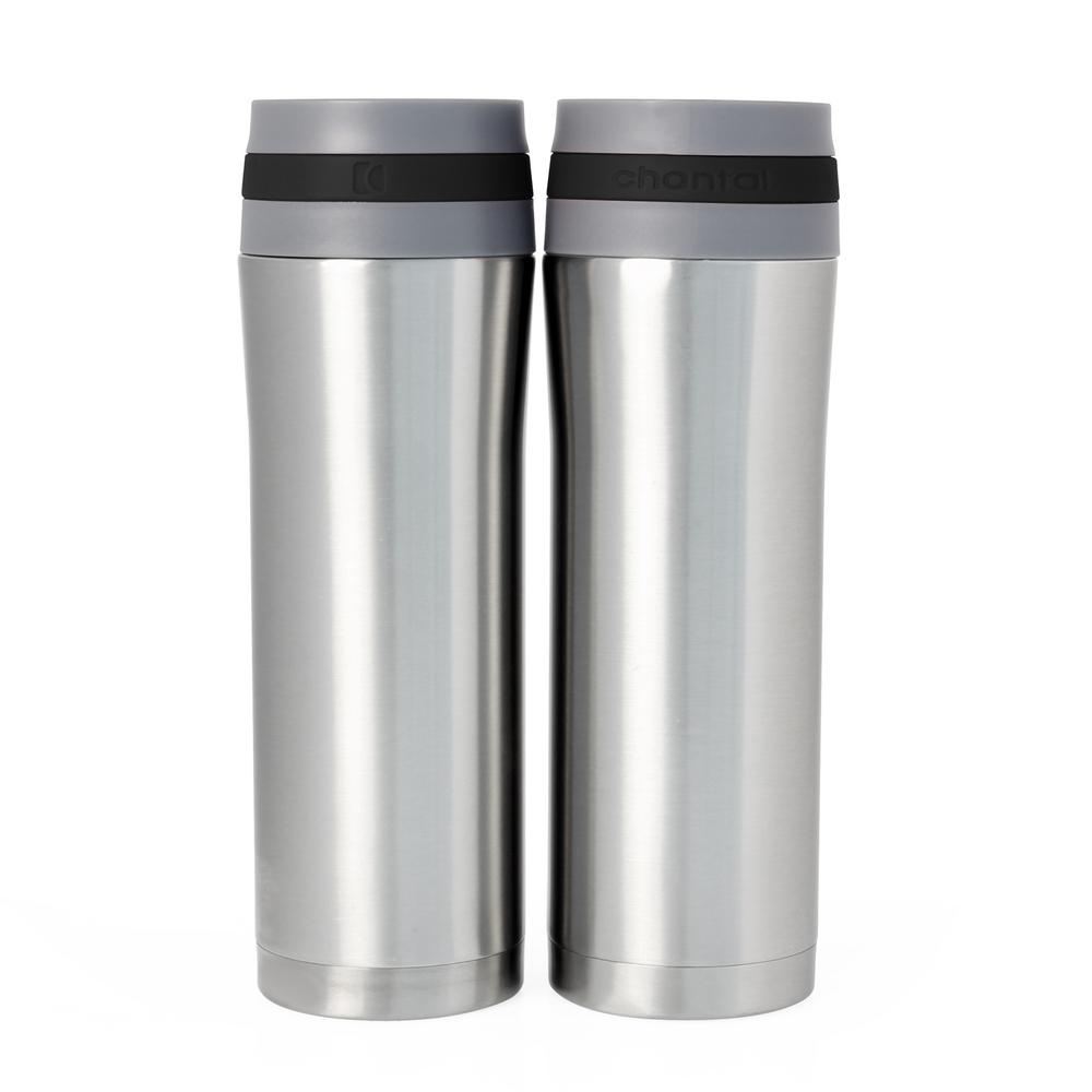 Vacuum Insulated 15 oz. Black Band Stainless Steel Travel Mug (Set