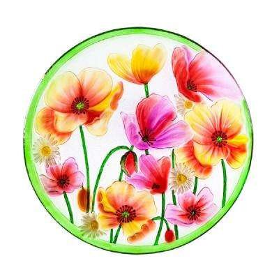 Poppies 18 in. Glass Birdbath