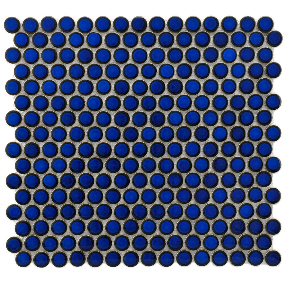 Merola Tile Hudson Penny Round Blue Eye 12 In X 12 5 8 In
