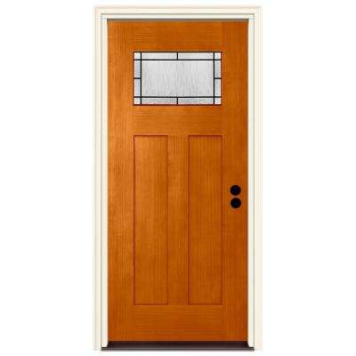36 in. x 80 in. Left-Hand 1-Lite Craftsman Wendover Saffron Stained Fiberglass Prehung Front Door with Brickmould