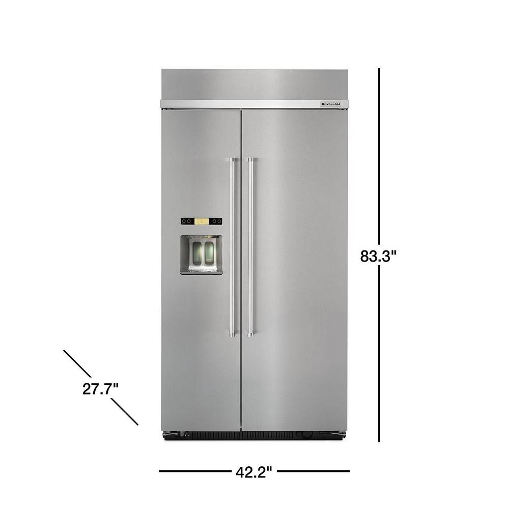 KitchenAid 25 cu. ft. Built-In Side by Side Refrigerator in Stainless Steel