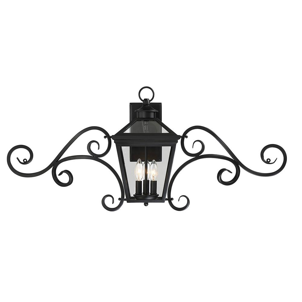3-Light Outdoor Black Wall Mount Sconce