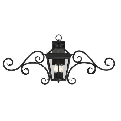 3-Light Outdoor Black Wall Lantern Sconce