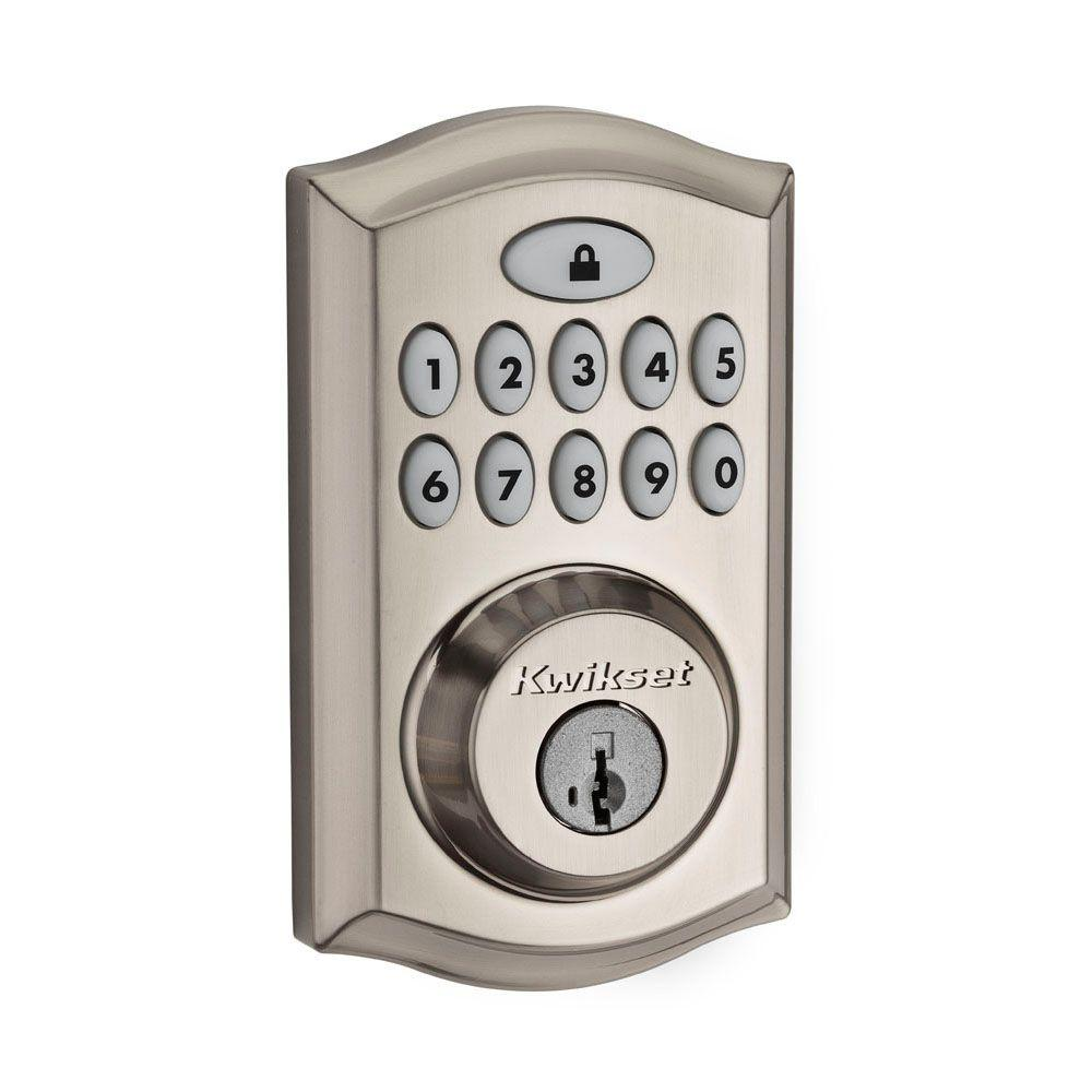 Kwikset Smartcode 913 Satin Nickel Single Cylinder Electronic Deadbolt Featuring Smartkey Security 913trl 15 Ul The Home Depot