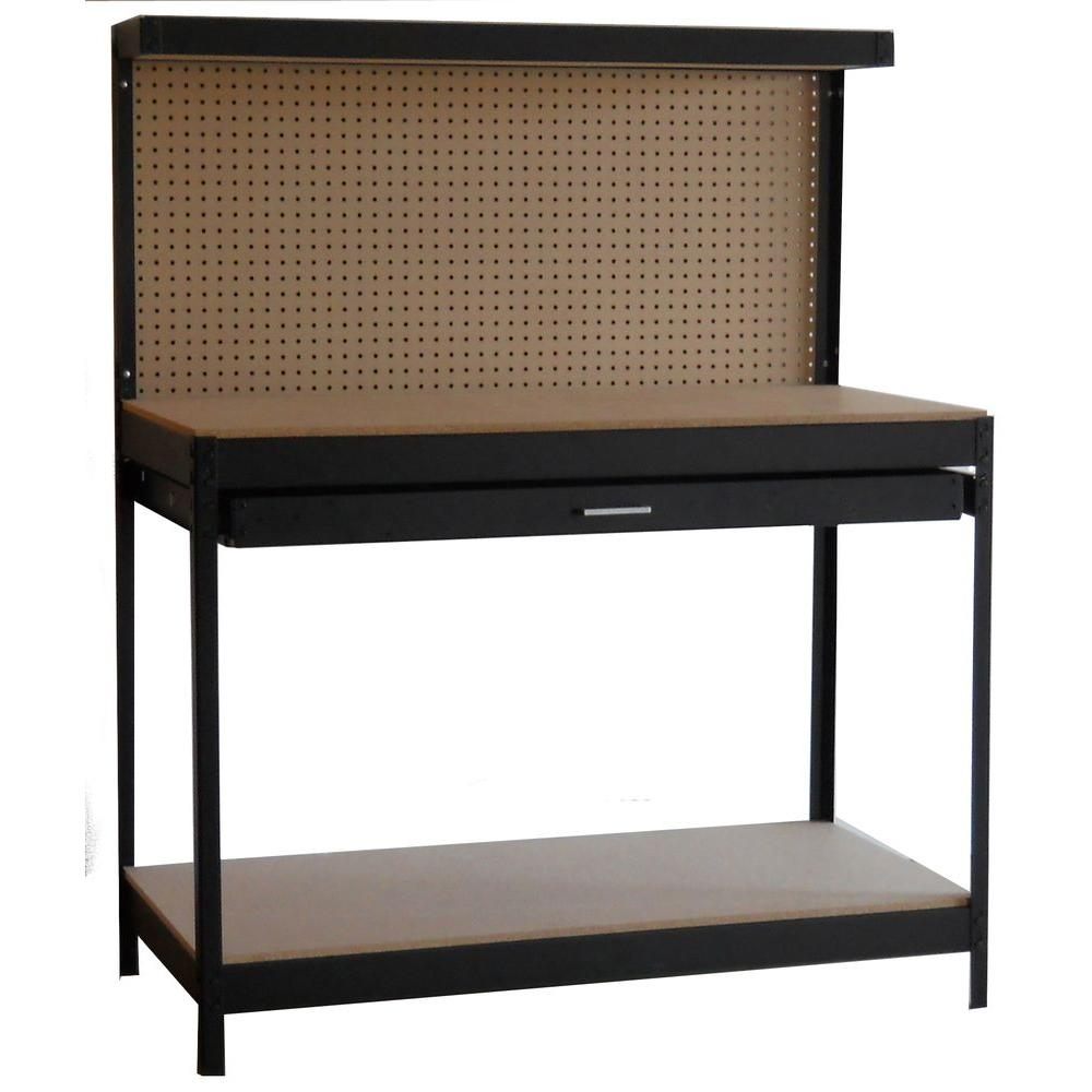 Dateline Workshop 4 ft. Wide by 5 ft. Tall by 2 ft. Deep Black Steel Workbench