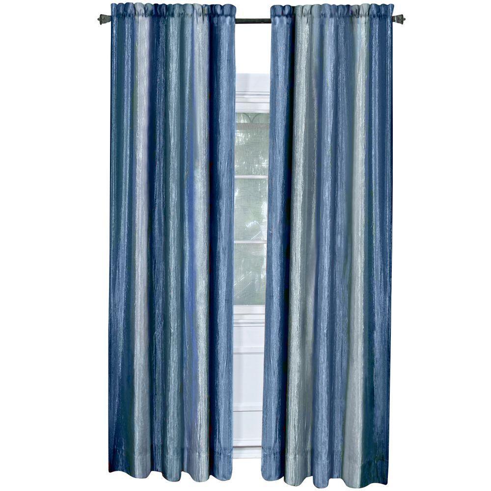 Semi-Opaque Ombre 50 in. W x 84 in. L Curtain Panel in Blue