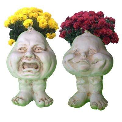 8.5 in. Antique White Crying Brother and Happy Baby the Muggly Face Statue Planter Holds 3 in. Pot