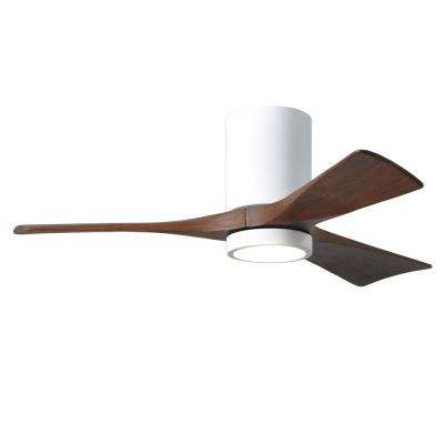 Irene 42 in. LED Indoor/Outdoor Damp Gloss White Ceiling Fan with Light