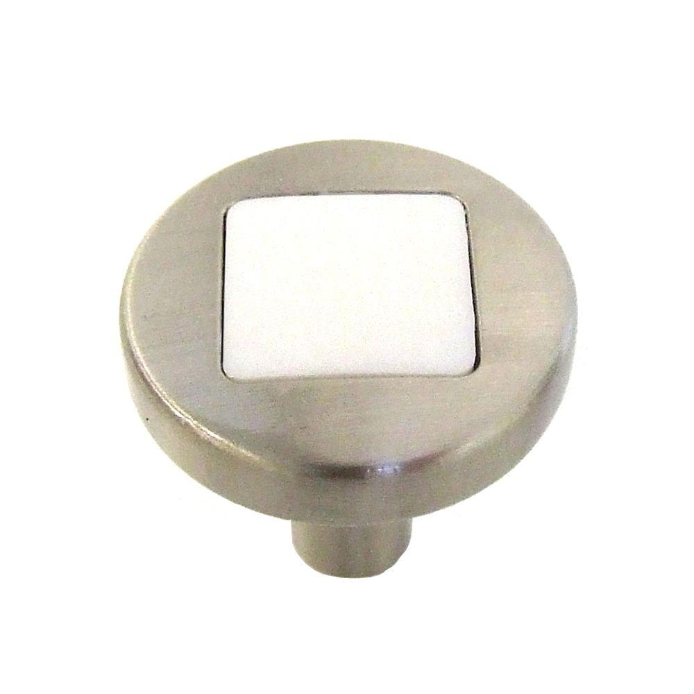 Hickory Hardware Loft 1 in. Satin Nickel with White Matte Cabinet Knob
