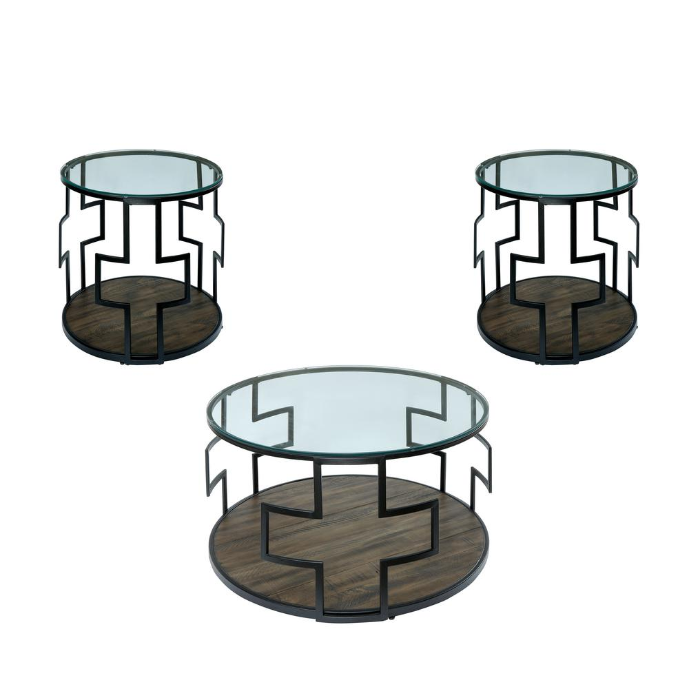 Jerry Black, Walnut Geometric 3-Piece Table Set