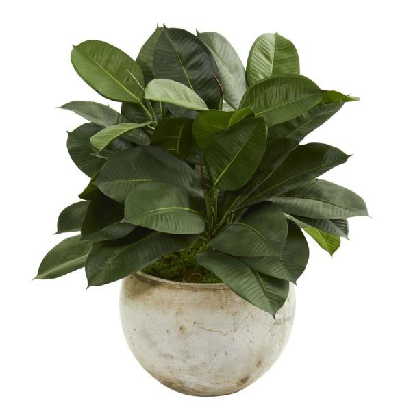 Nearly Natural Indoor 26-In. Artificial Rubber Plant in Stone Planter 9244