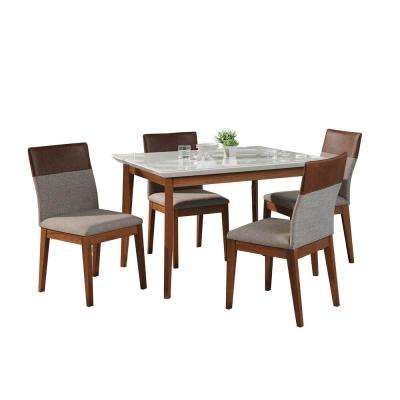 Lillian 45.66 in. and Duke 5-Piece White Gloss and Grey and Brown Dining Set
