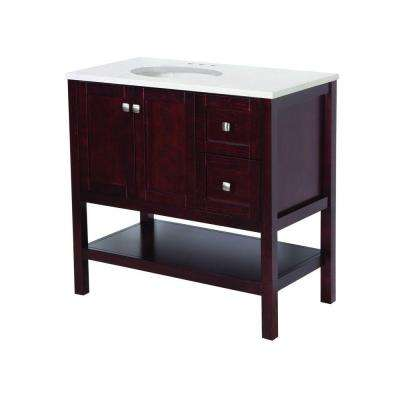 Sydney 37 in. W x 19 in. D Bathroom Vanity in Dark Cherry with Stone Effects Vanity Top in Cascade with White Sink