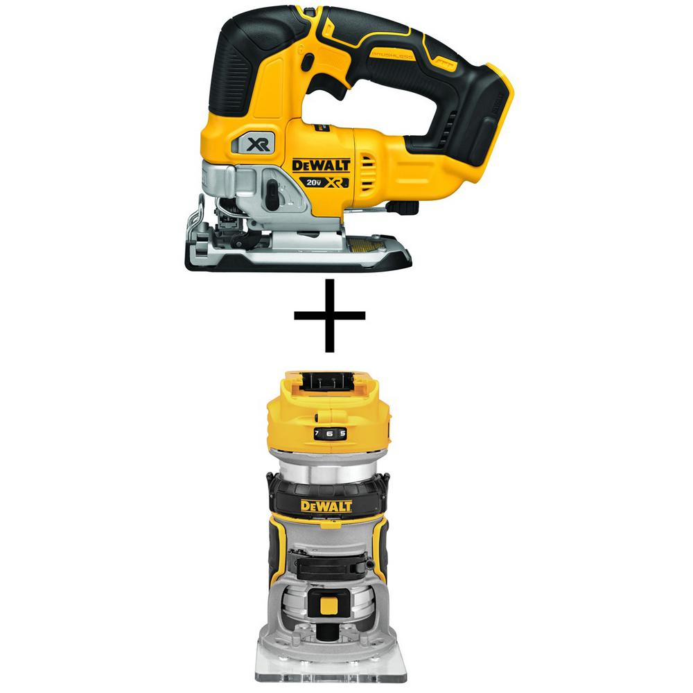 DEWALT 20-Volt MAX Lithium-Ion Cordless Brushless Jigsaw(Tool-Only) with Bonus Cordless Brushless Router(Tool-Only)