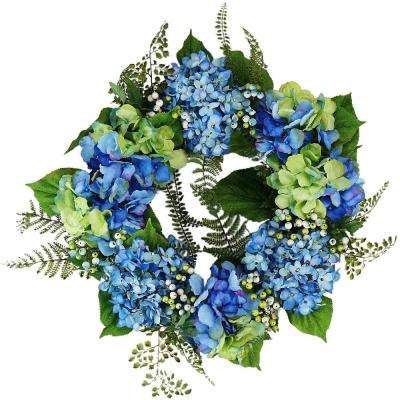 24 in. Blue and Green Hydrangea and Berry Artificial Floral Wreath