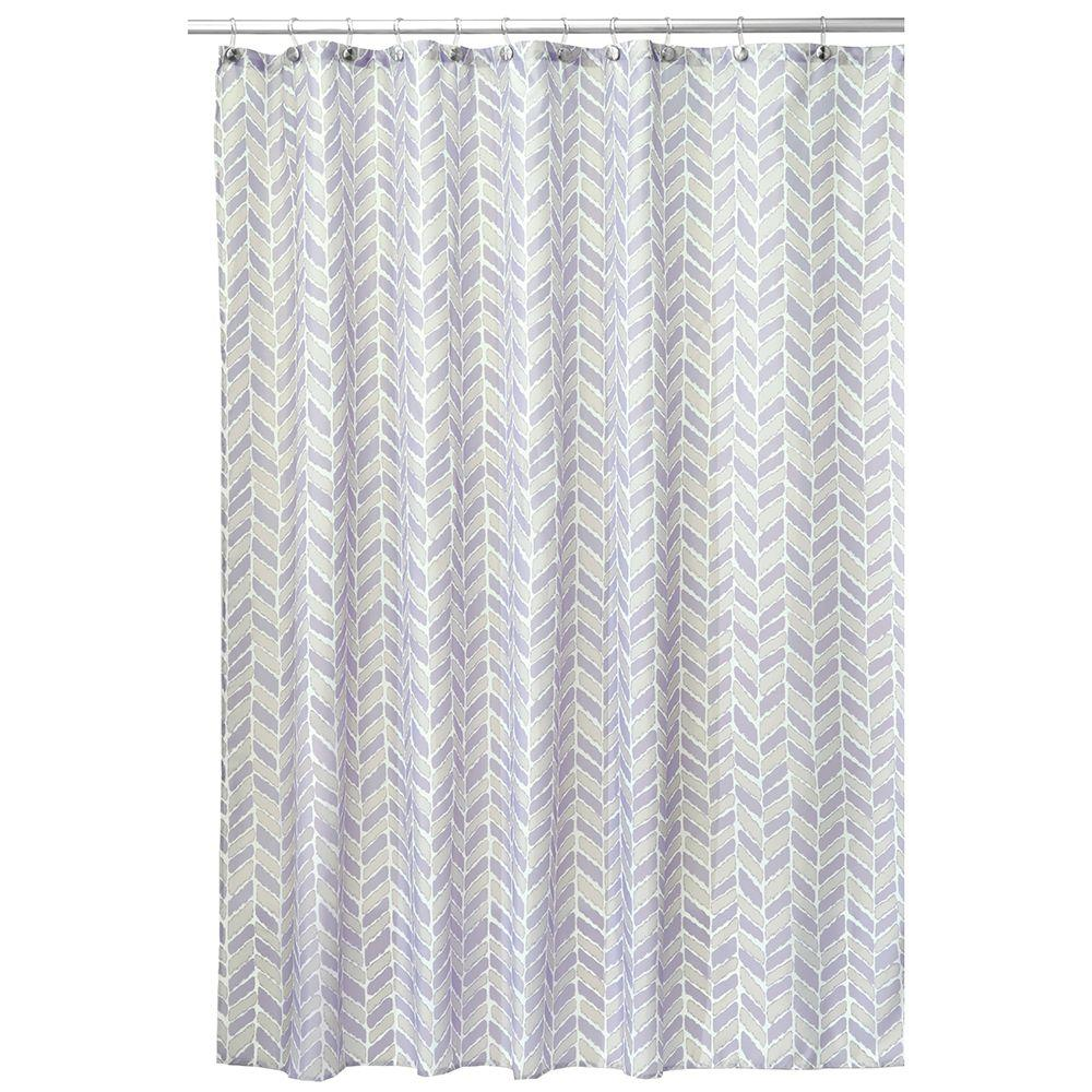InterDesign Nora 72 In X Shower Curtain Taupe And Lavender