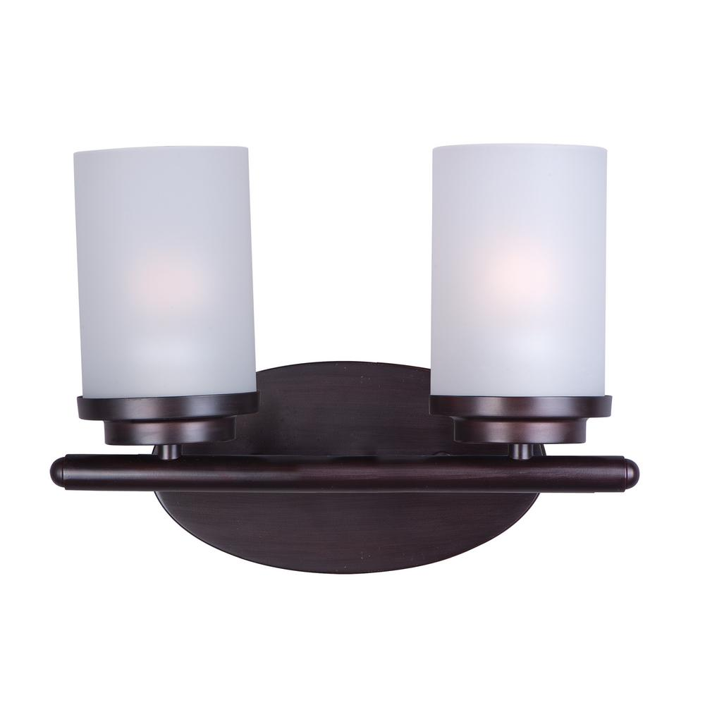 Maxim lighting corona 2 light oil rubbed bronze bath light for Bathroom vanity lights oil rubbed bronze