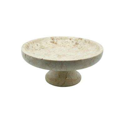 10 in. x 10 in. x 4.375 in. Fruit Bowl on Pedestal in Champagne Marble