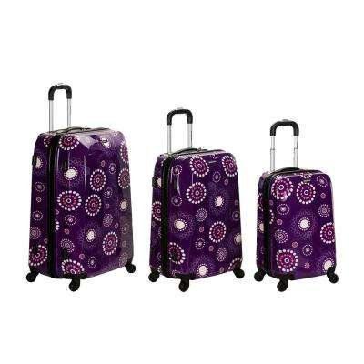 Rockland 3-Piece Vision Hardside Spinner Luggage set, Purplepearl