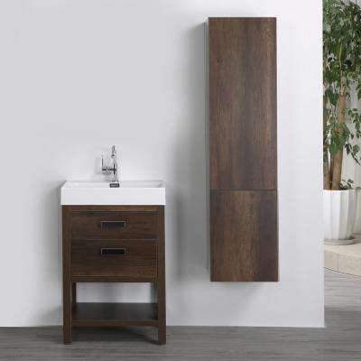 23.6 in. W x 32.3 in. H Bath Vanity in Brown with Resin Vanity Top in White with White Basin