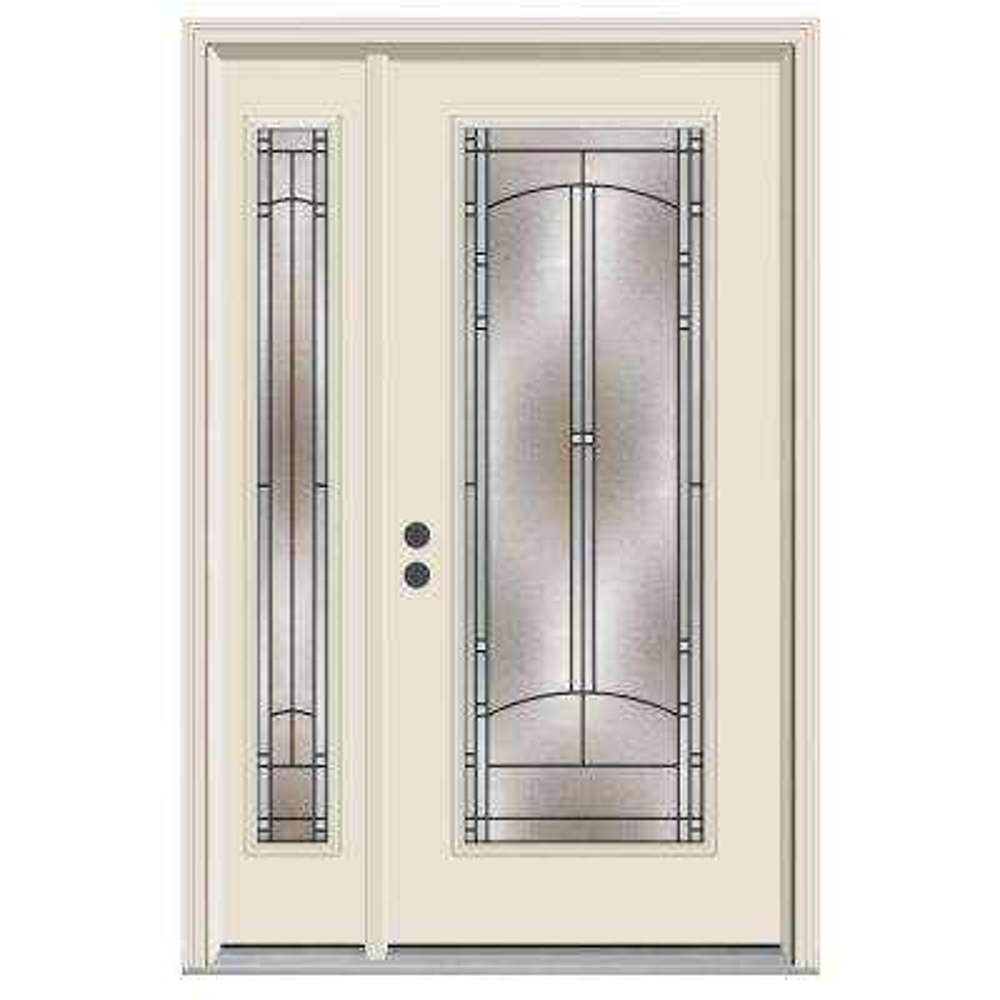 52 in. x 80 in. Full Lite Idlewild Primed Steel Prehung Right-Hand Inswing Front Door with Left-Hand Sidelite