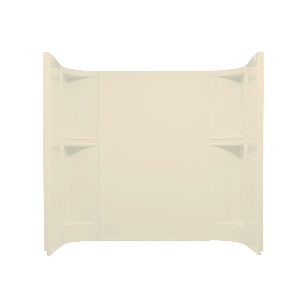 STERLING Accord 60 in. x 30 in. x 55 in. 3-piece Direct-to-Stud Shower Wall with Age-in-Place Backers in Almond-DISCONTINUED