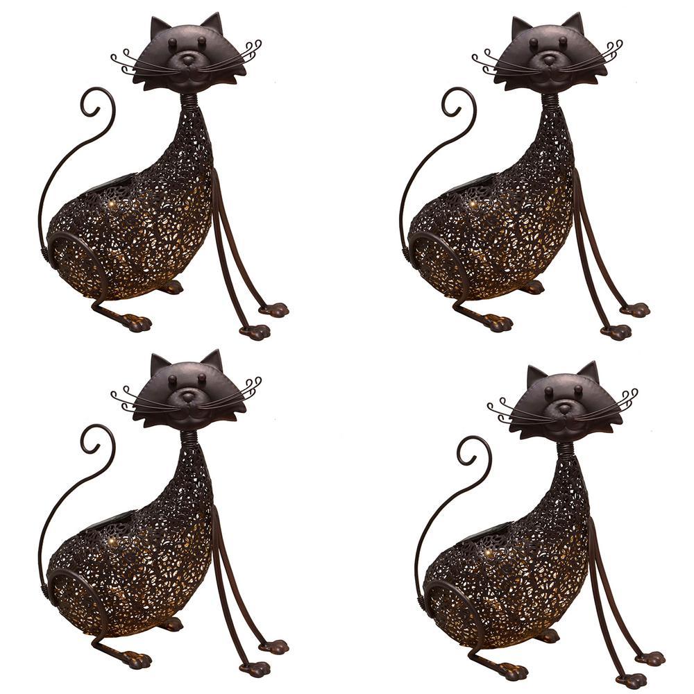 15.4 in. Steel Indoor/Outdoor Animal Garden Cat Metal Feline Sculpture Statue with Solar Light (4-Pack)