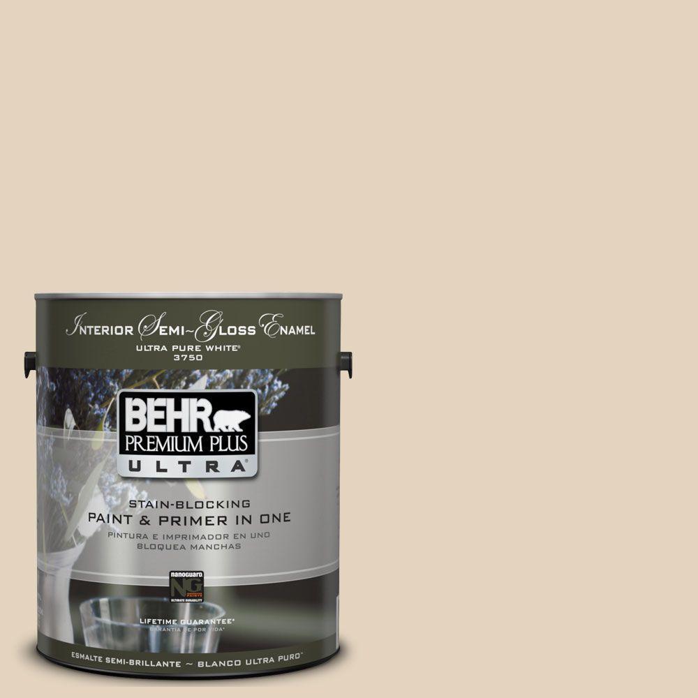 BEHR Premium Plus Ultra 1-gal. #UL160-13 Wax Sculpture Interior Semi-Gloss Enamel Paint