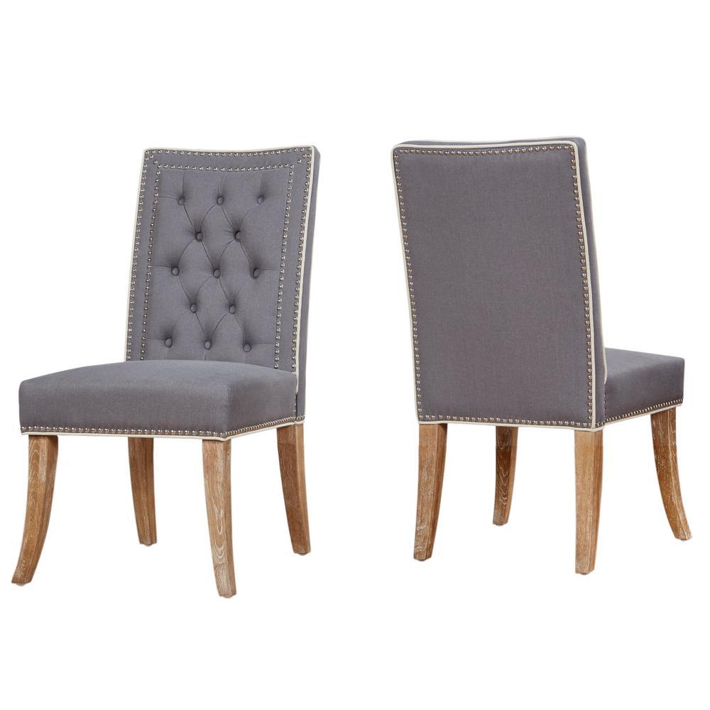 Garrett Grey Linen Dining Chair (Set of 2)
