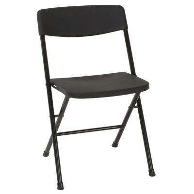 Black Plastic Seat Outdoor Safe Folding Chair (Set of 8)