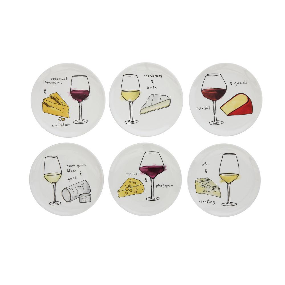 Round Stoneware White Decorative Wine and Cheese Plate Set