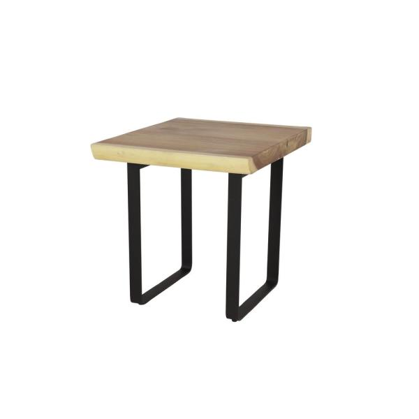 Litton Lane Small Square Brown Acacia Wood Accent Table with Black