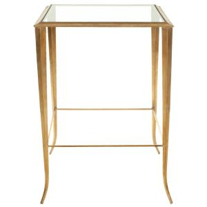 Tory Gold and Clear Glass Side Table