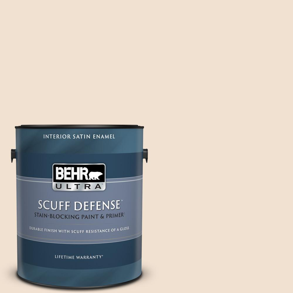 Behr Ultra 1 Gal W F 110 Chamois Cloth Extra Durable Satin Enamel Interior Paint And Primer In One 775001 The Home Depot